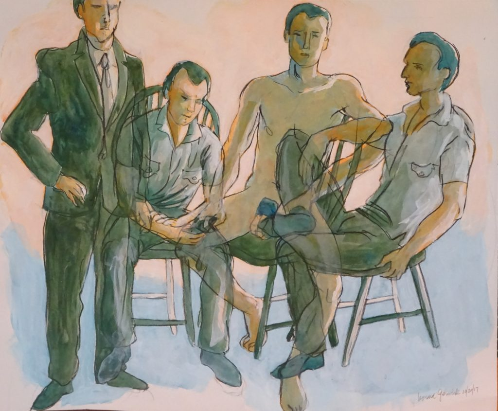"Drawing with color wash of fifthe arrangement for painting ""Four Men"" by artist, Leonard Gerwick"