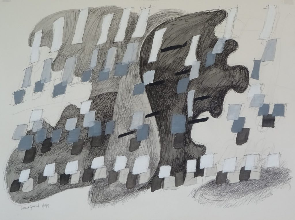 Flying black, gray and white rectangles in dark gray shapes in acrylic drawing and painting by Leonard Gerwick