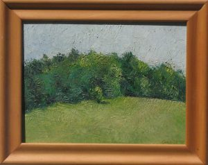 Oil painting of a view up a hill of woods and sky beyond, 12X15 inches by Leonard Gerwick