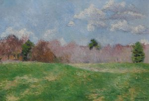 Oil painting of a field and trees on a windy April day, 20X28 inches by Leonard Gerwick