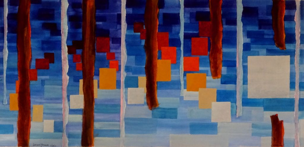 Painting of brown and white verticals between dancing rectangles by Leonard Gerwick