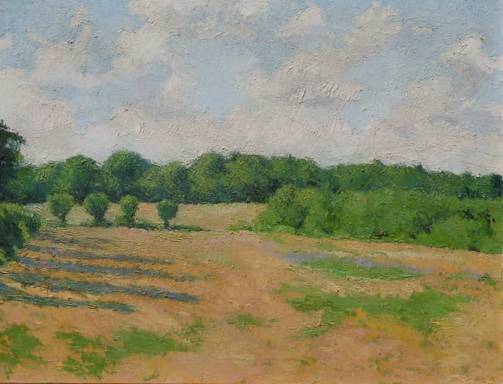Oil painting of a wide grassy field with distant trees, 30X40 inches by Leonard Gerwick, New England artist