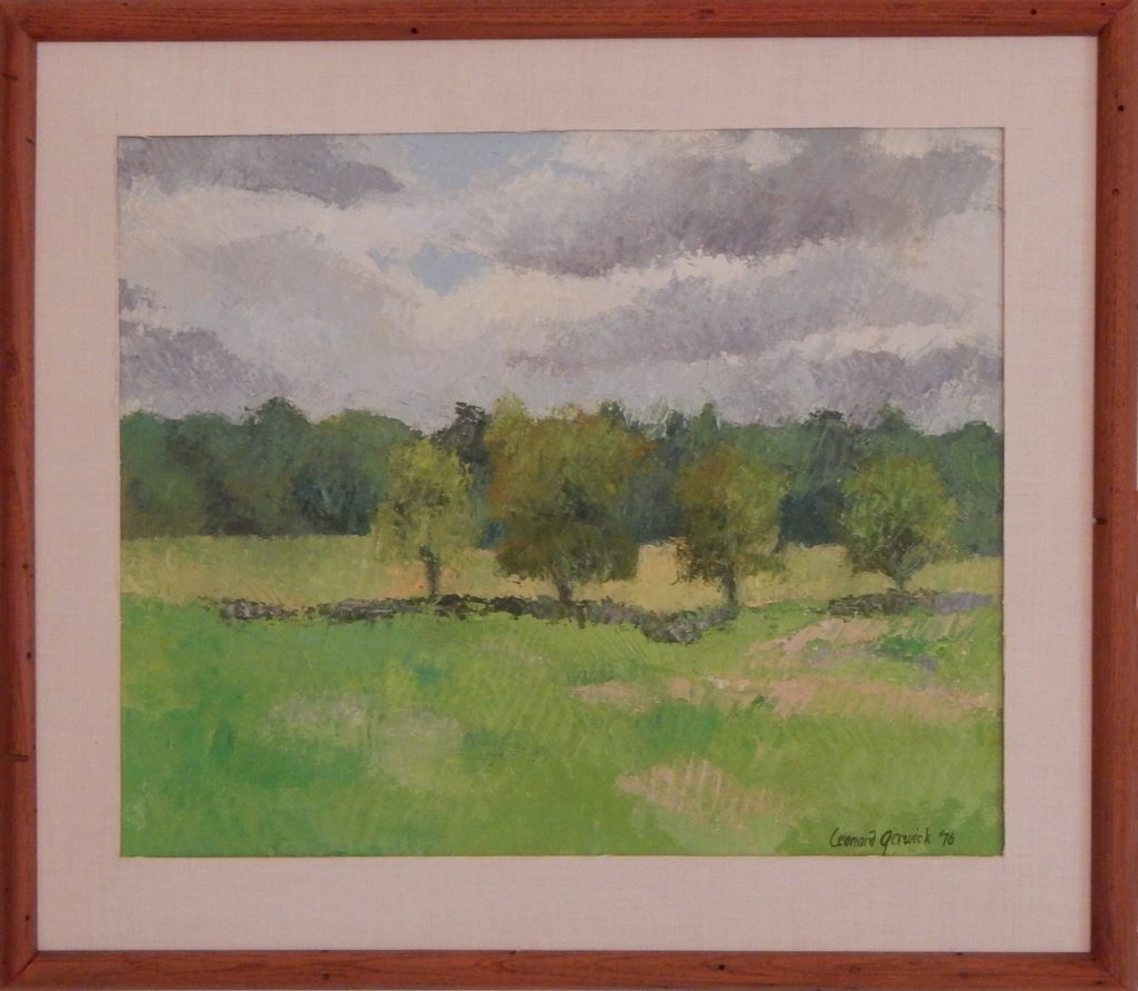 Oil painting of two fields with distant trees and a cloudy sky, 17X20 inches by Leonard Gerwick