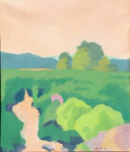 Oil painting of waterways, bushes and trees in smple colors, 30X24 inches by Leonard Gerwick