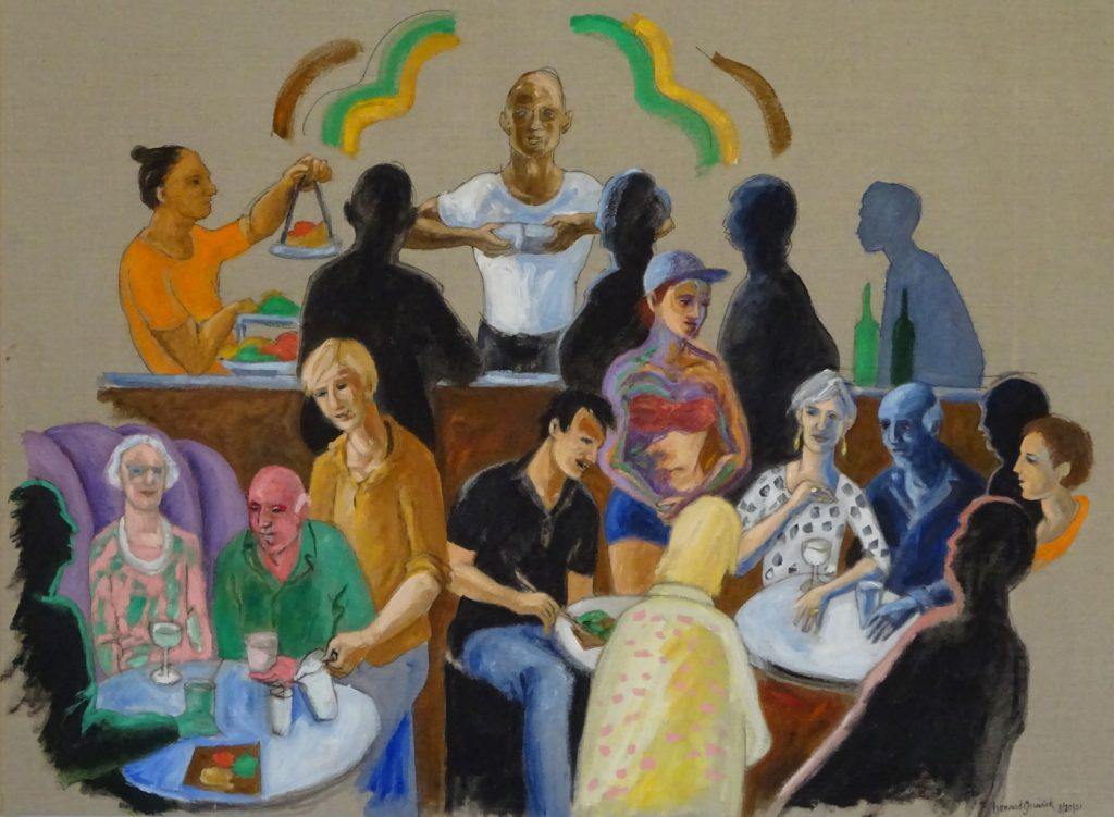 Figure painting of eighteen people at a joyful bar