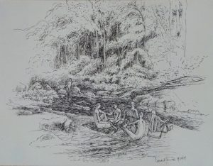 Pen drawing of people by a small Vermont river surrounded by dense trees