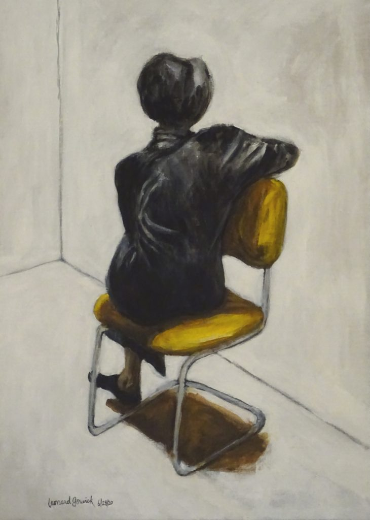 Seated Black woman facing a wall by New England artist, Leonard Gerwick