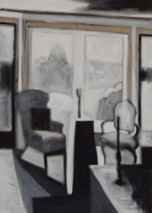Acrylic painting of black, white and gray furniture with snow outside, 36X25 inches by Leonard Gerwick