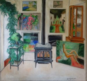Painting of a room with window, plants, china cupboard, fireplace and rercent paintings by Leonard Gerwick