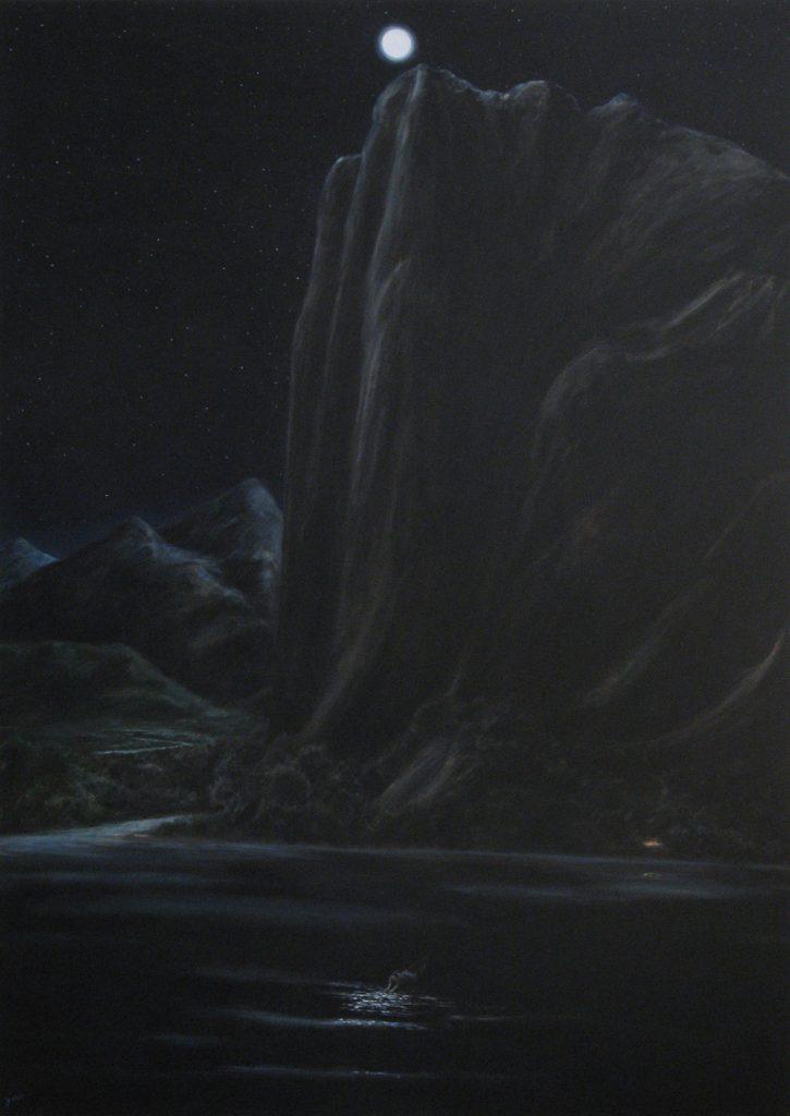 Lake, mountain and moon