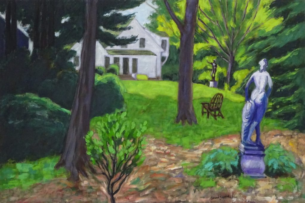 View through trees of statues and house by New England artist