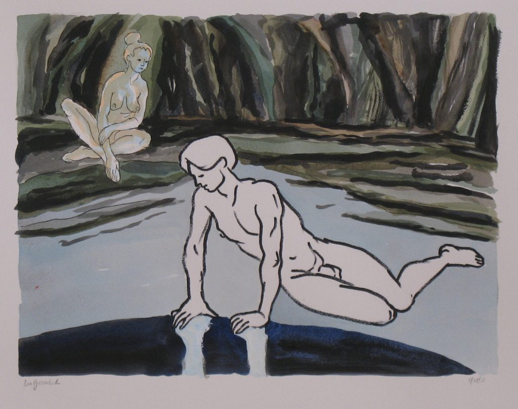 The mythological scene by a pond in a forest is painted by New England artist, Leonard Gerwick