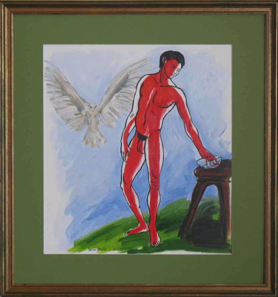 Painting of the Ganymede myth with Zeus as an eagle by New Englnd artist, Leonard Gerwickus as an eagle