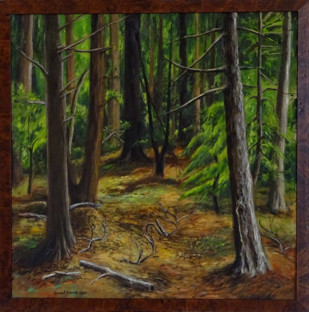 landscape of trees in a forest by Massachusetts artist, Leonard Gerwick