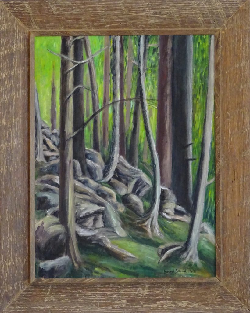 Painting of trees on a steep hill bu New England artist, Leonard Gerwick