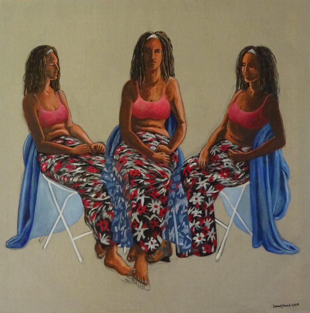Young woman in a flowered dress in three poses, acrylic painting by New England aritst, Leonard gerwick