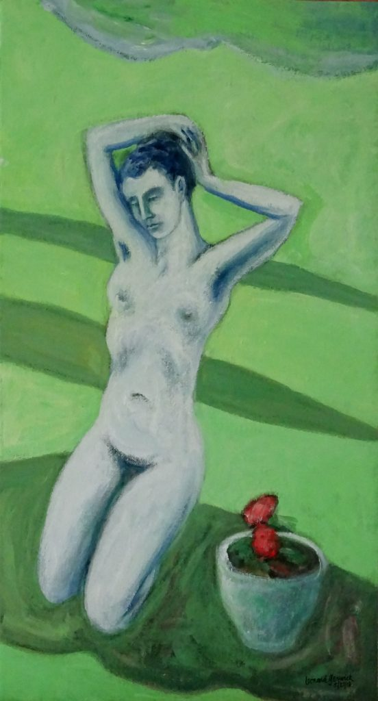 Nude figure in sunny lawn with shadows, acrylic, 24X13 inches by Leonard Gerwick
