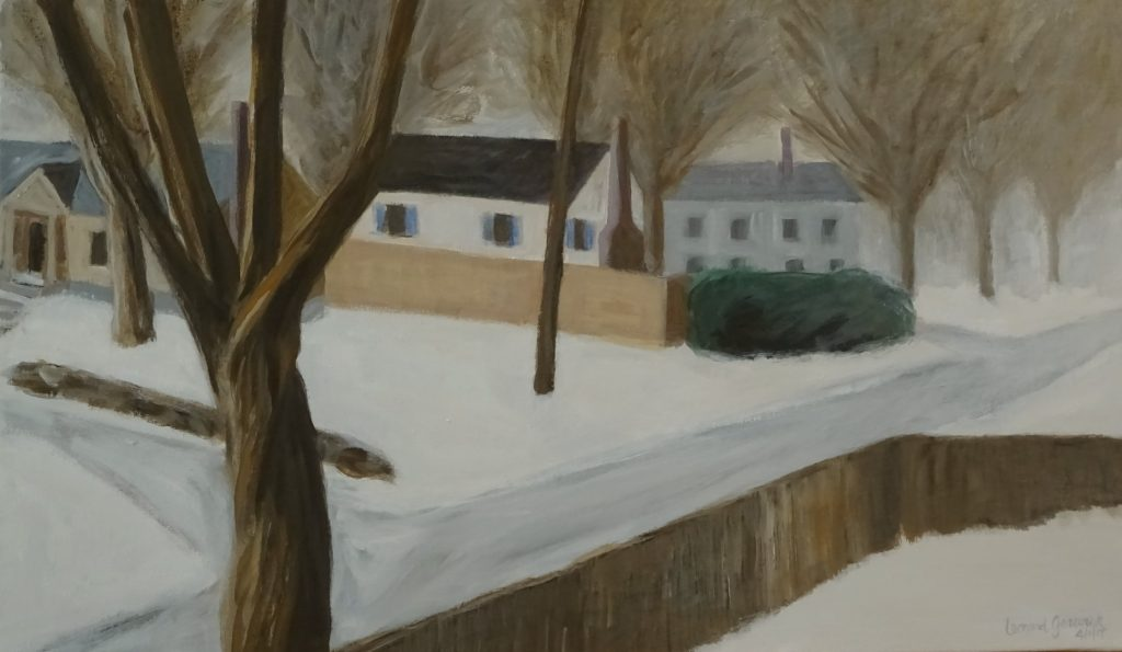 Road, houses and yards in snow, acrylic painting 15X24 inches by Leonard Gerwick