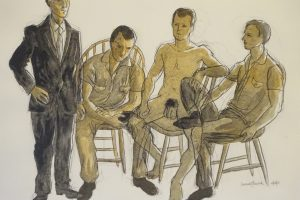 Ink and acrylic wash drawing ofModel poses the model sitting three times and standing once, then nude once and in different clothes three times, 24X18 inches by Leonard Gerwick