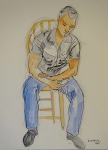 Ink and acrylic wash drawing of a seated man holding a cell phone by Leonard Gerwick