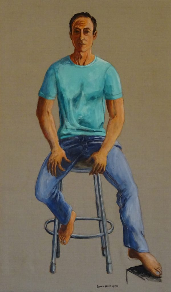 Portrait of a man sitting on a stool by New England artist, Leonard Gerwick