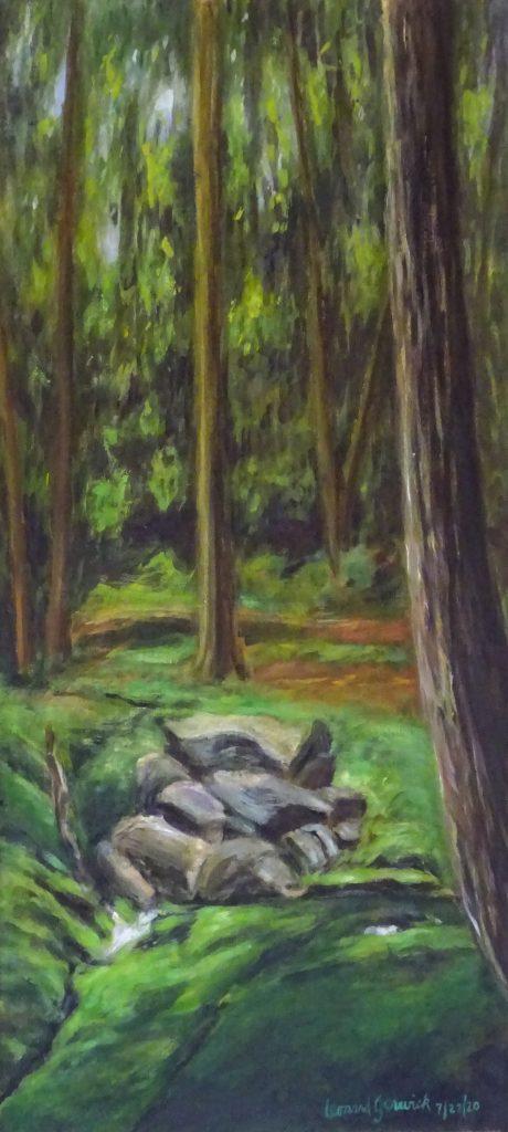 Landscape of stream on mountainside