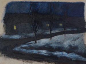 Black roads and blue snowon deep night 18X24 inch acrylic painting