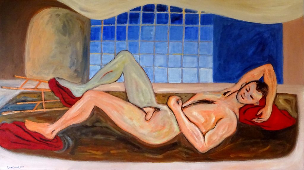 Resting figure with colorful abstract room, acrylic, 27X42 inches by Leonard Gerwick