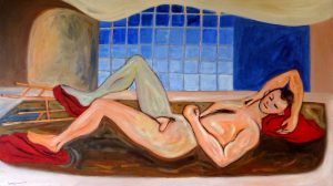 reclining resting figure rom life drawing abstract color