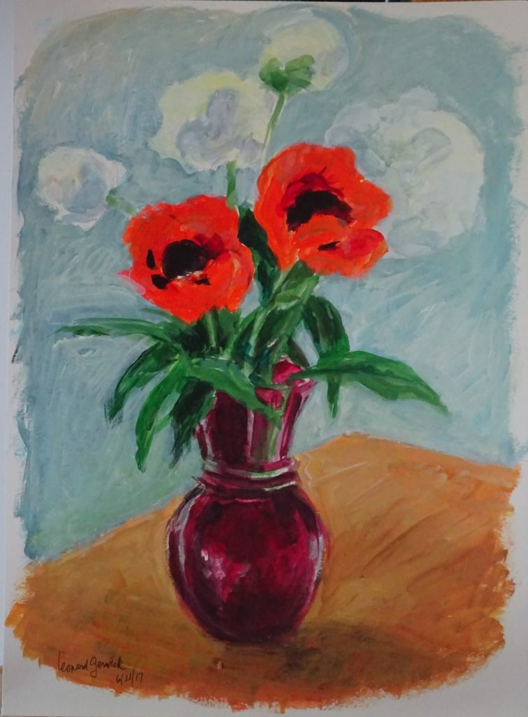 Peonies and Poppies in a Red Vase