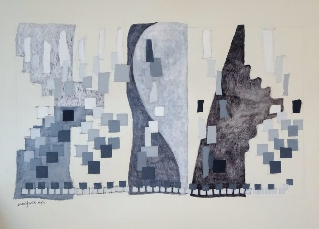 Painting drawing of gray. white and black rectangles in four vertical bands by Leonard Gerwick