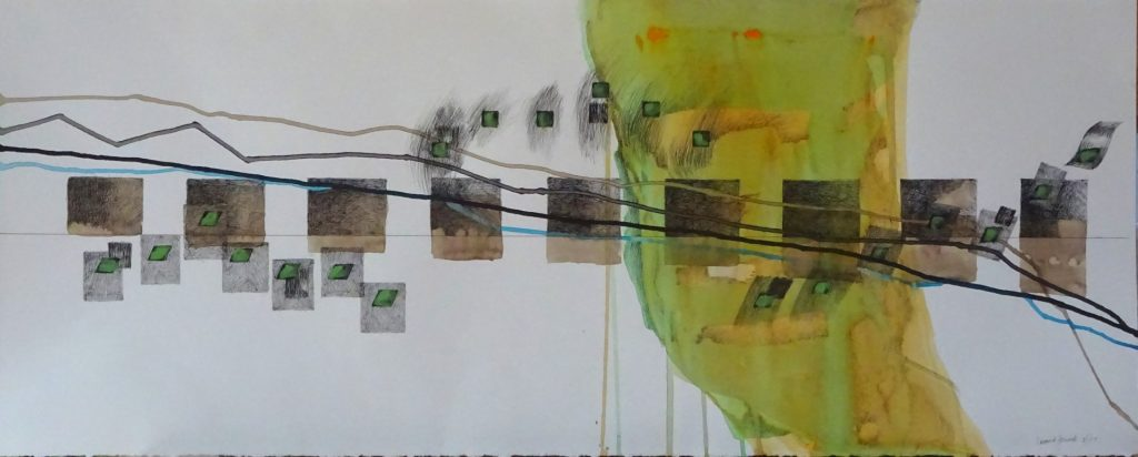 Squares in a row, lines wandering and color shapes, 12X30 inches, by new England artist