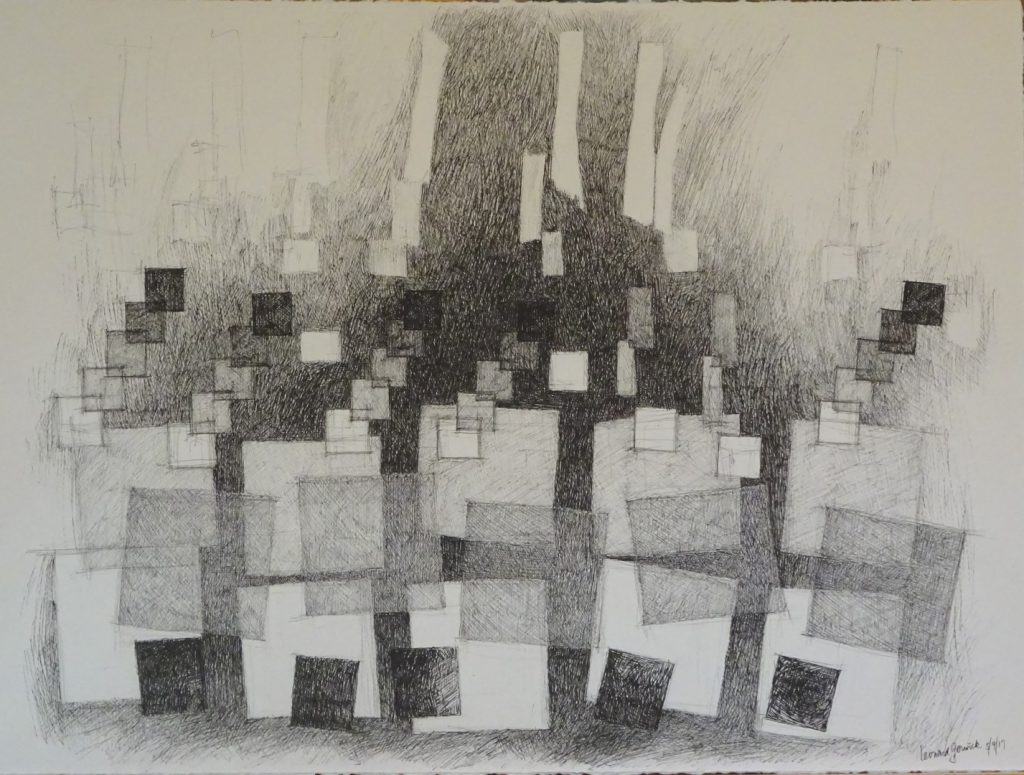 India ink drawing of black and gray squares by Leonard Gerwick