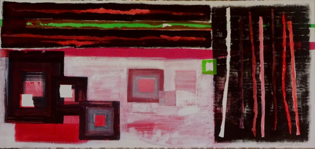 Abstract painting of red shapes on black field by Leonard Gerwick