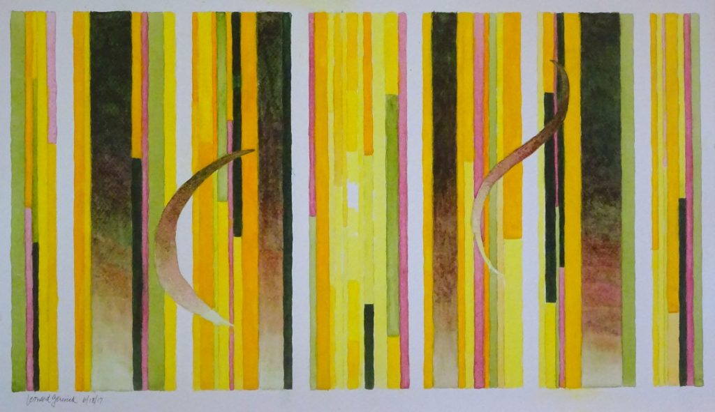 painting of four brown and six white stripes with yellow between, on paper by Leonard Gerwick
