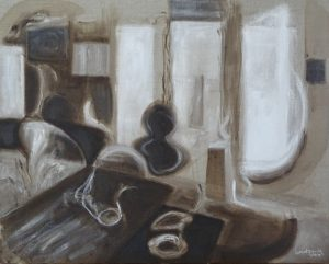 Windows, tables, chairs abstractd to seemingly moving shapes, acrylic, 24X30 inches by Leonard Gerwick