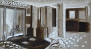 Painting of brown and tan forms in space based on windows, floors and walls by Leonard Gerwick