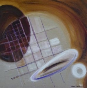 Abstract painting of geometric curving forms flooting in space around a grid by Leonard Gerwick