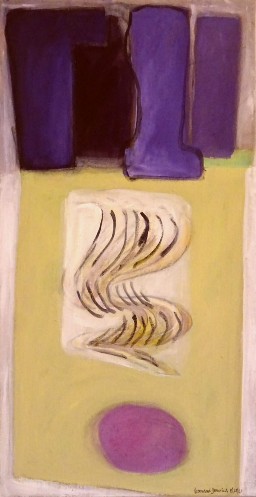 Abstract painting in purple by new England artist