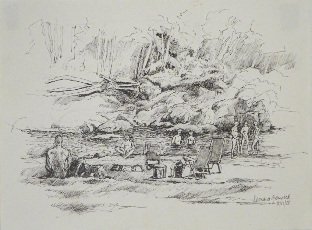 Second ink drawing of Rock River, Vermont by new England artist, Leonard Gerwick