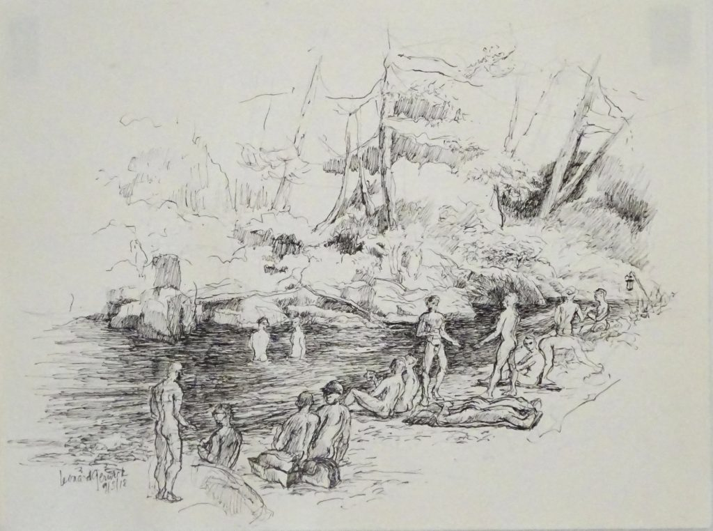 Ink drawing of Rock River in Vermont by new England artist, Leonard Gerwick