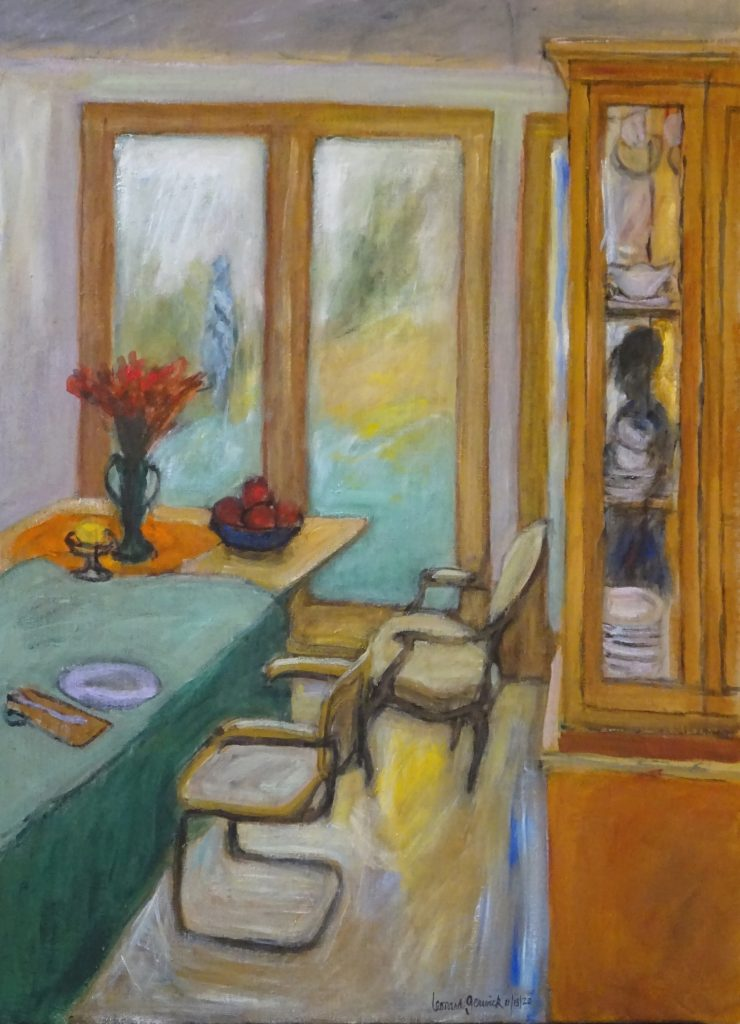 Sbstracted view of a dining room by New England artist, Leonard Gerwick