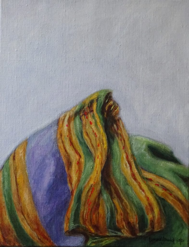 Painting of Greek scarf against white snow by New England artist