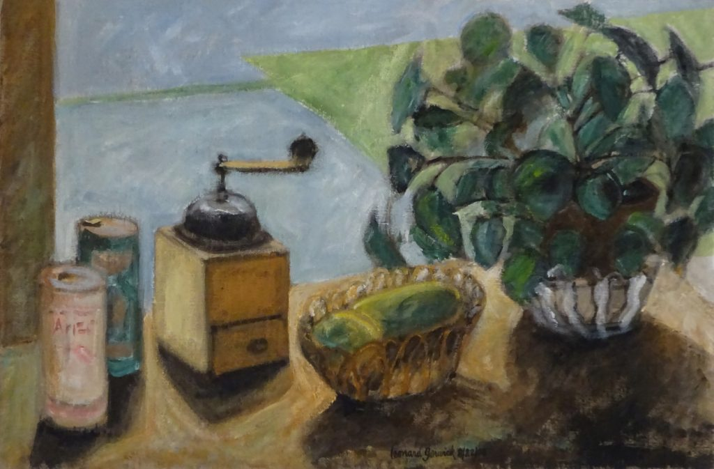 Still life painting of pilea plant and other objects by new Englan artist