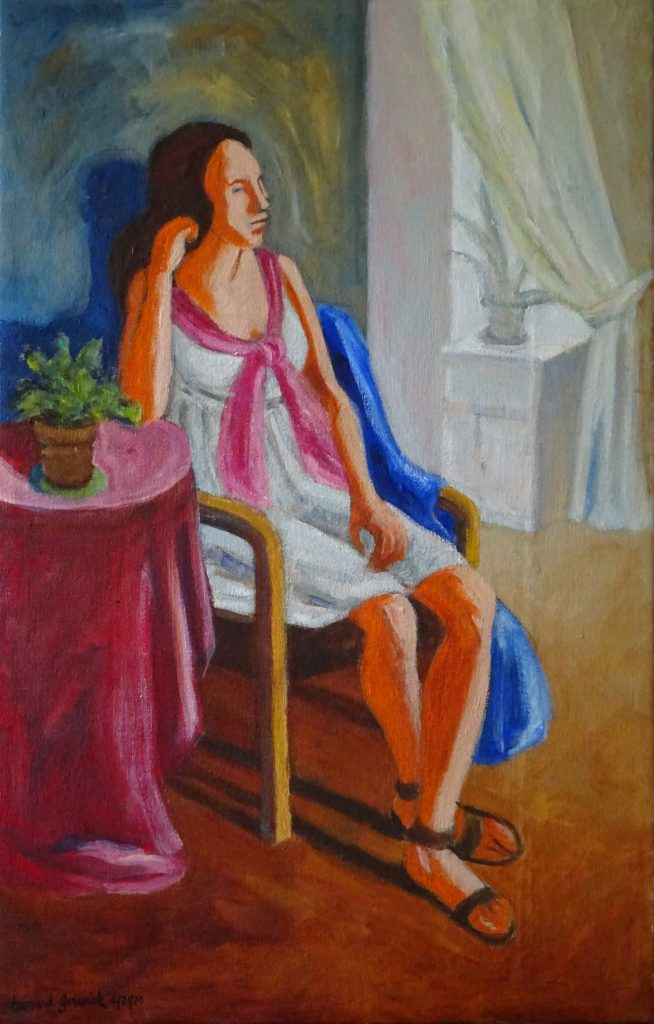Acrylic painting of a seated young women by New England artist, Leonard Gerwick