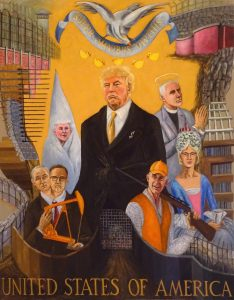 President Trump and cabint menbers amid a land of walls, acrylic, 60X48 inches by new England artist