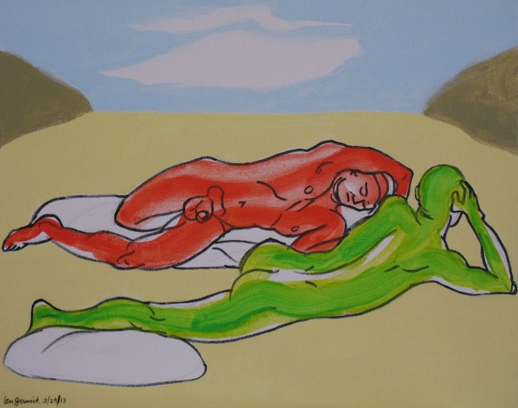 Marker and acrylic painting of two man reclined at a cove by the beach by new England artist, Leonard Gerwick