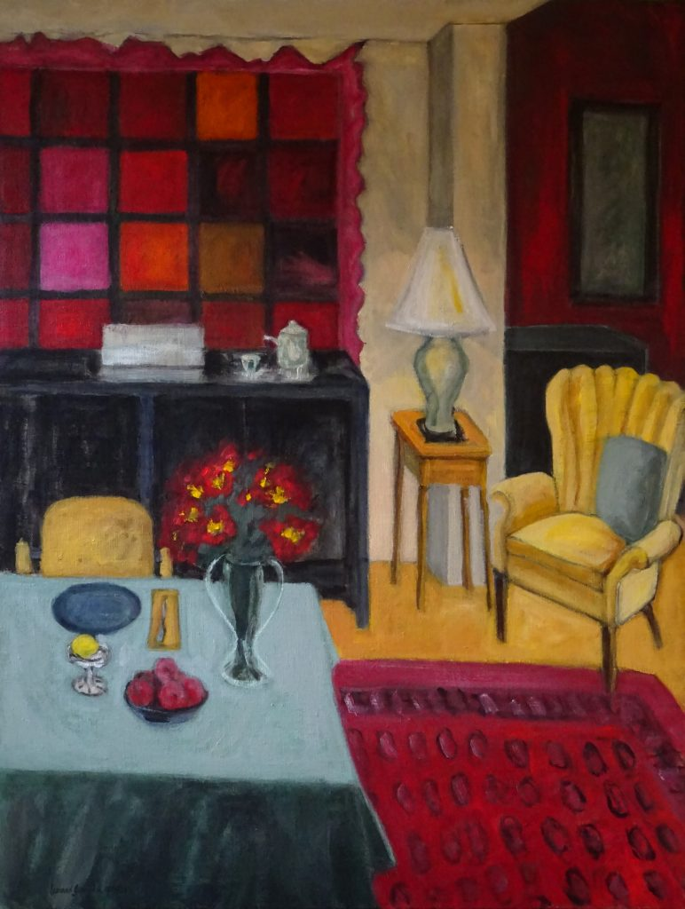 Room with tables and chair by New England artist, Leonard