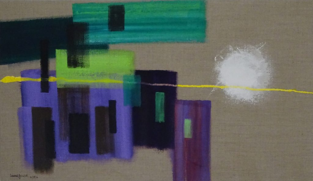 Abstract painting of a construction, It folllows the progression of four previous paintings.