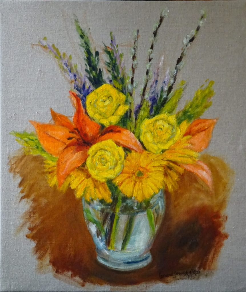 Colorful flowers in a clear glass vase by New England artist